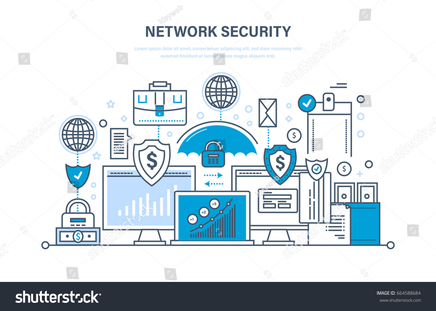 Network Security Personal Data Protection Payment Stock Vector Database And Secure Preservation Confidentiality