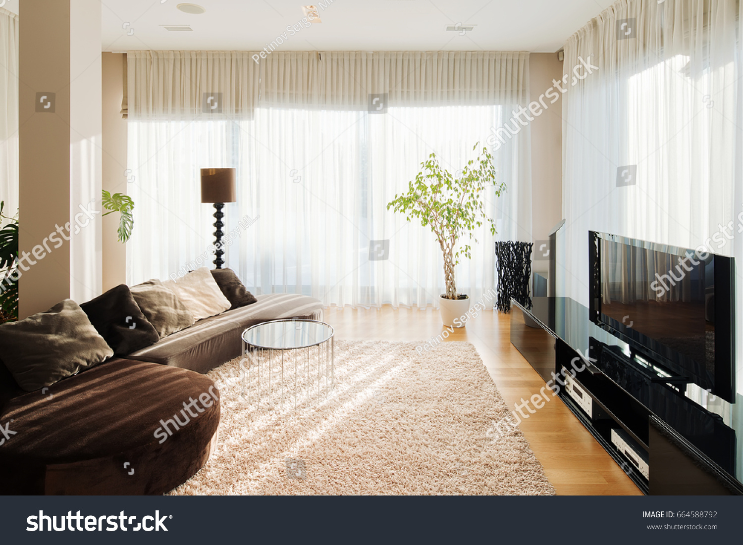 Comfortable Place Living Room Long Sofa Stock Photo (100% Legal ...