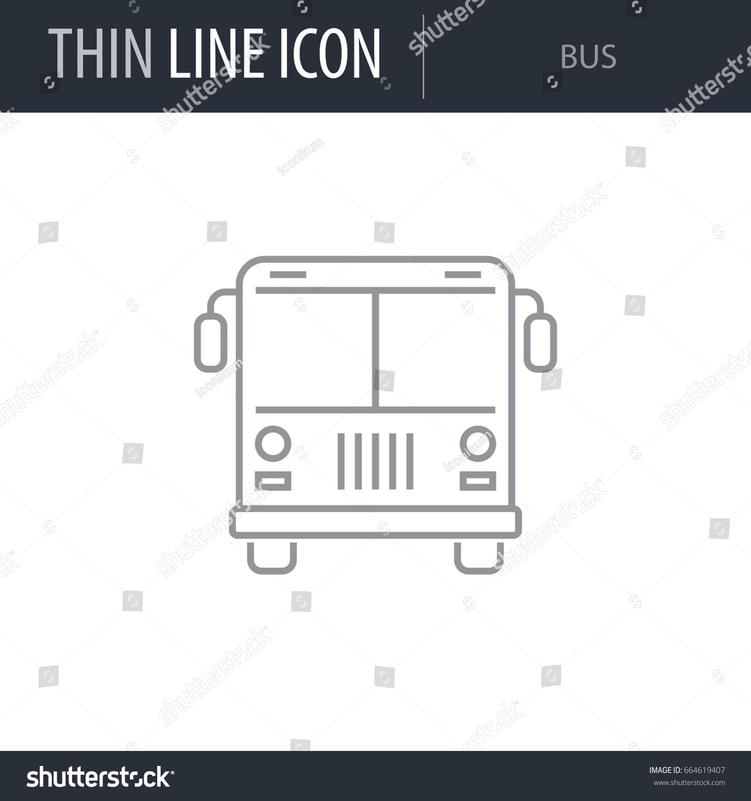 Symbol Bus Thin Line Icon Transportation Stock Vector Royalty Free