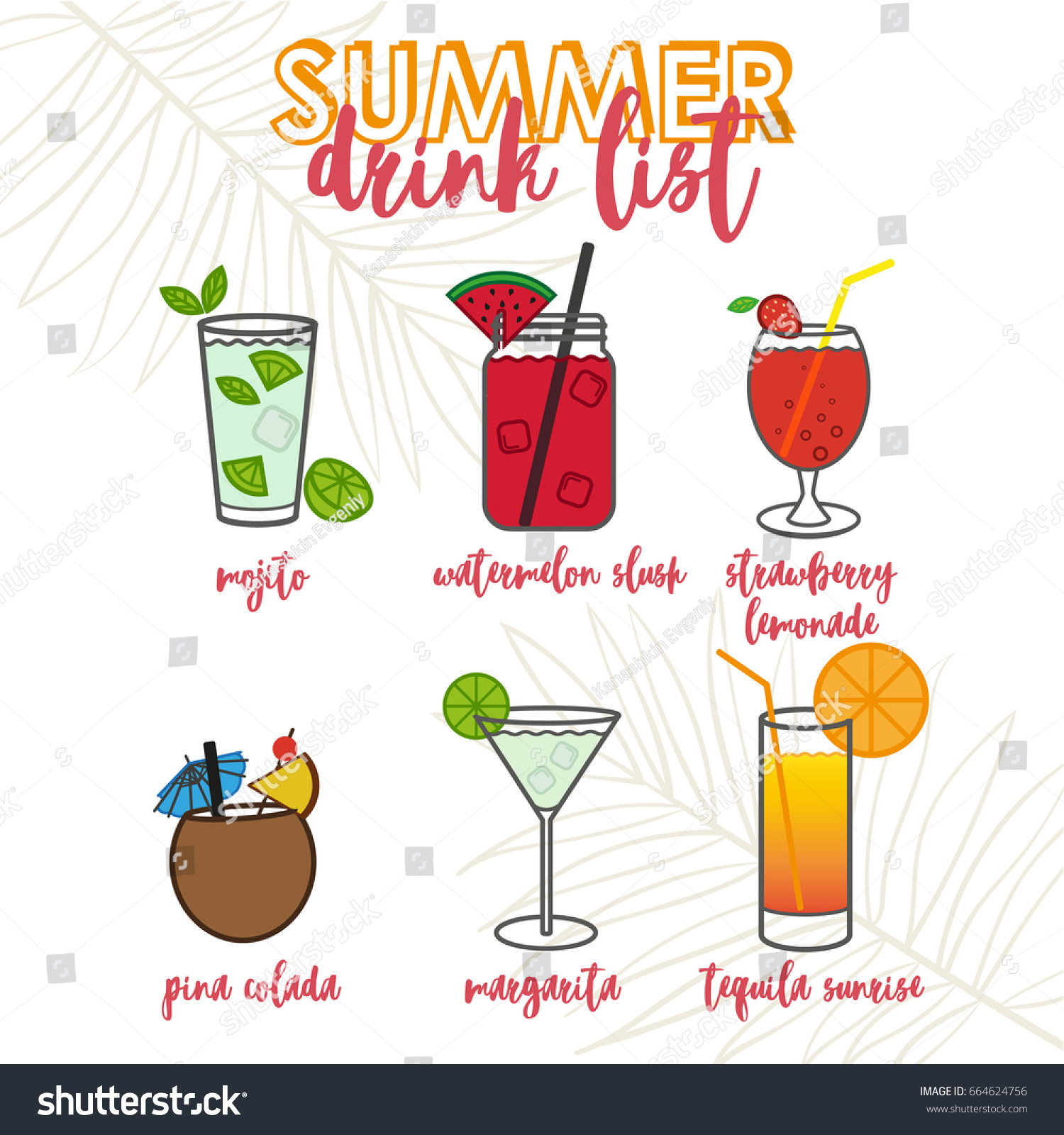 illustrations tropical cocktails drinks summer drink stock vector