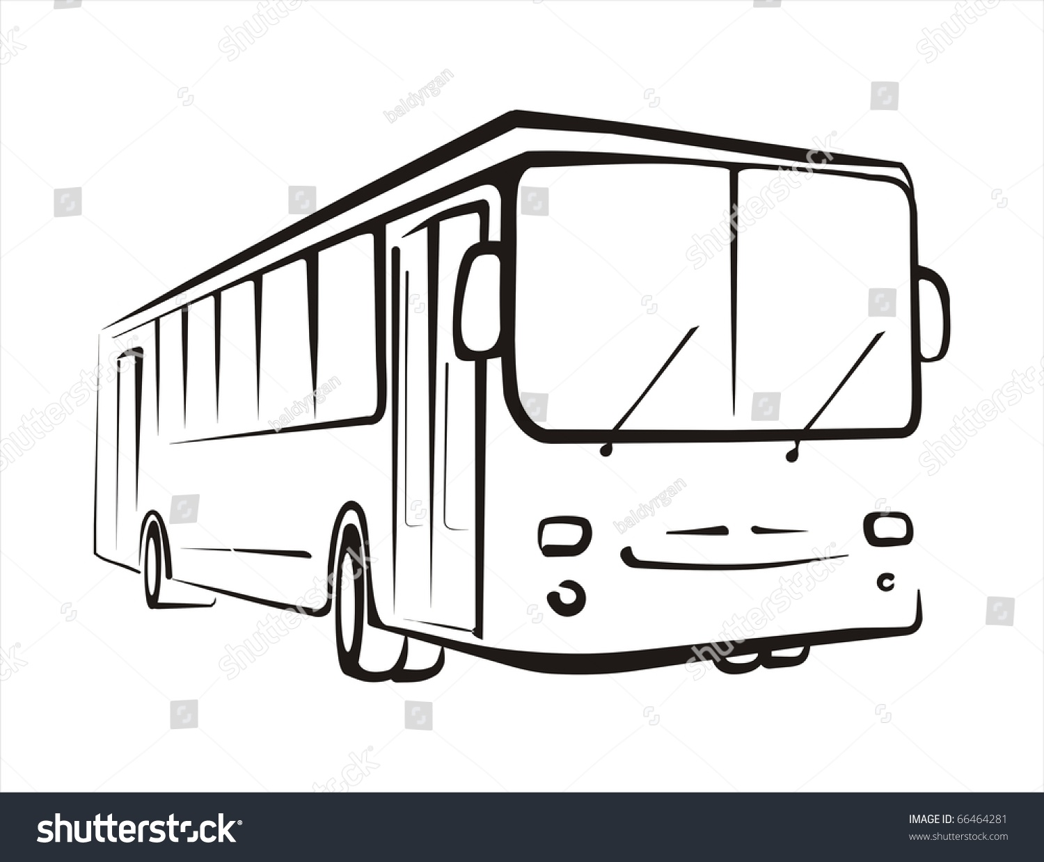 Bus Sketch Isolated Illustration Oi Black Stock Vector ...