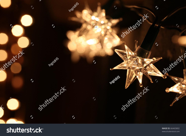 Star Shaped Christmas Lights On Dark Stock Photo 66465802  - Christmas Tree Shaped Lights