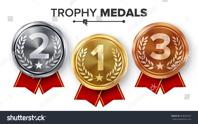 Gold Silver Bronze Medals Set Vector Stock Vector