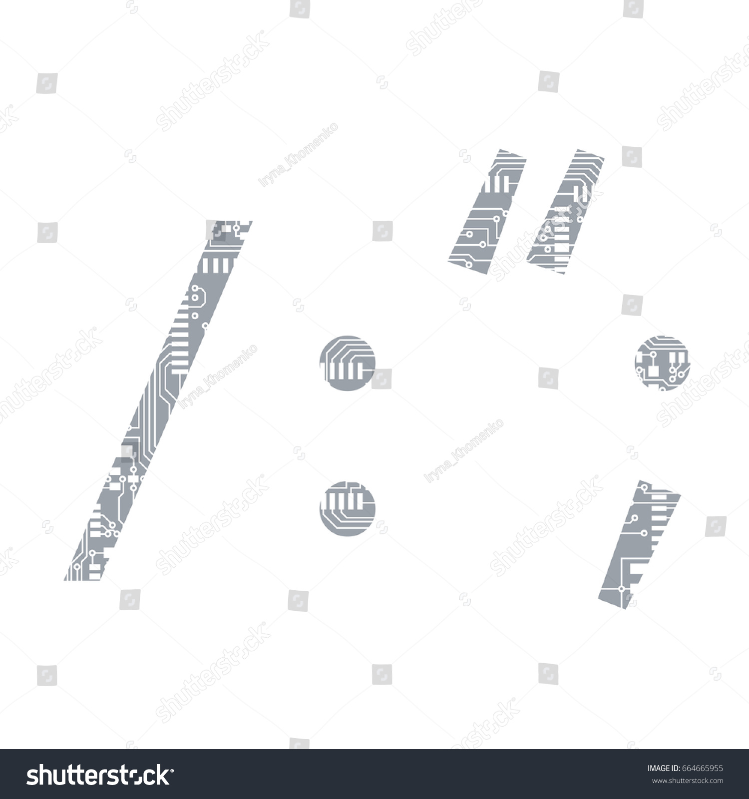 Circuit Board Symbol Solidus Slash Colon Stock Illustration