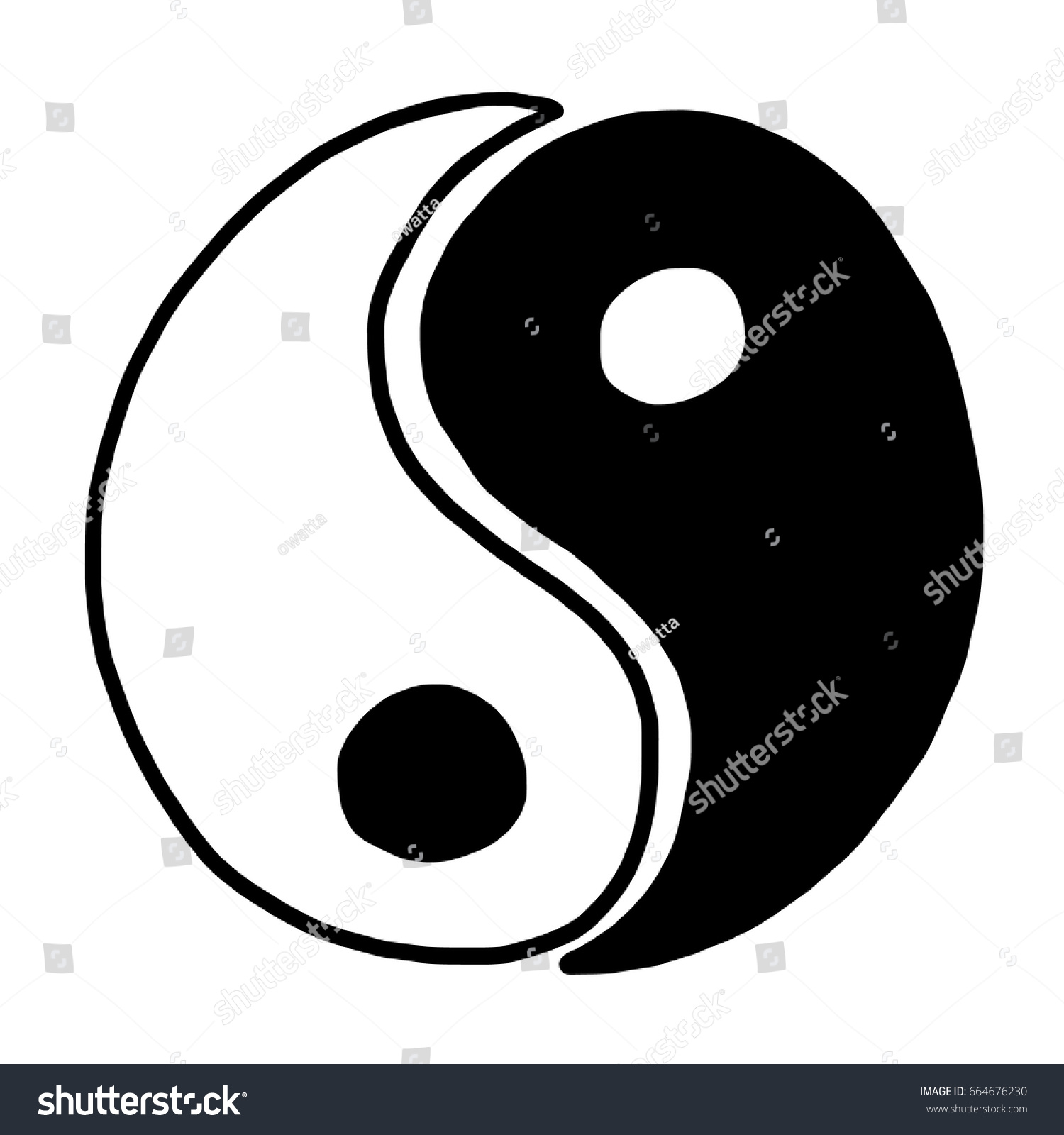 Yin yang cartoon vector illustration black stock vector for Architecture yin yang