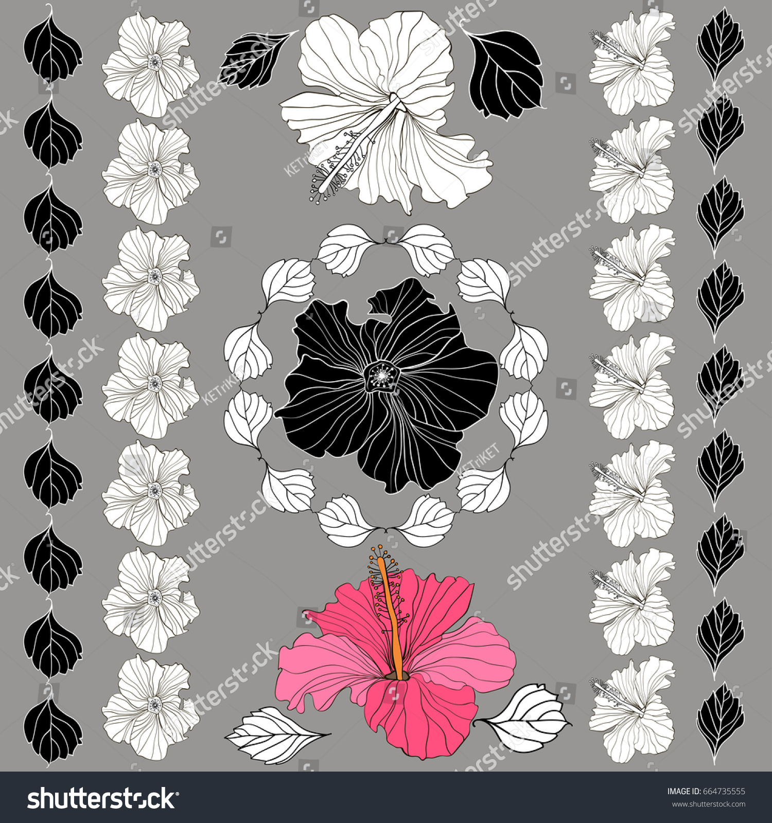 Vector Elegant Decorative Hibiscus Flowers Design Stock Vector