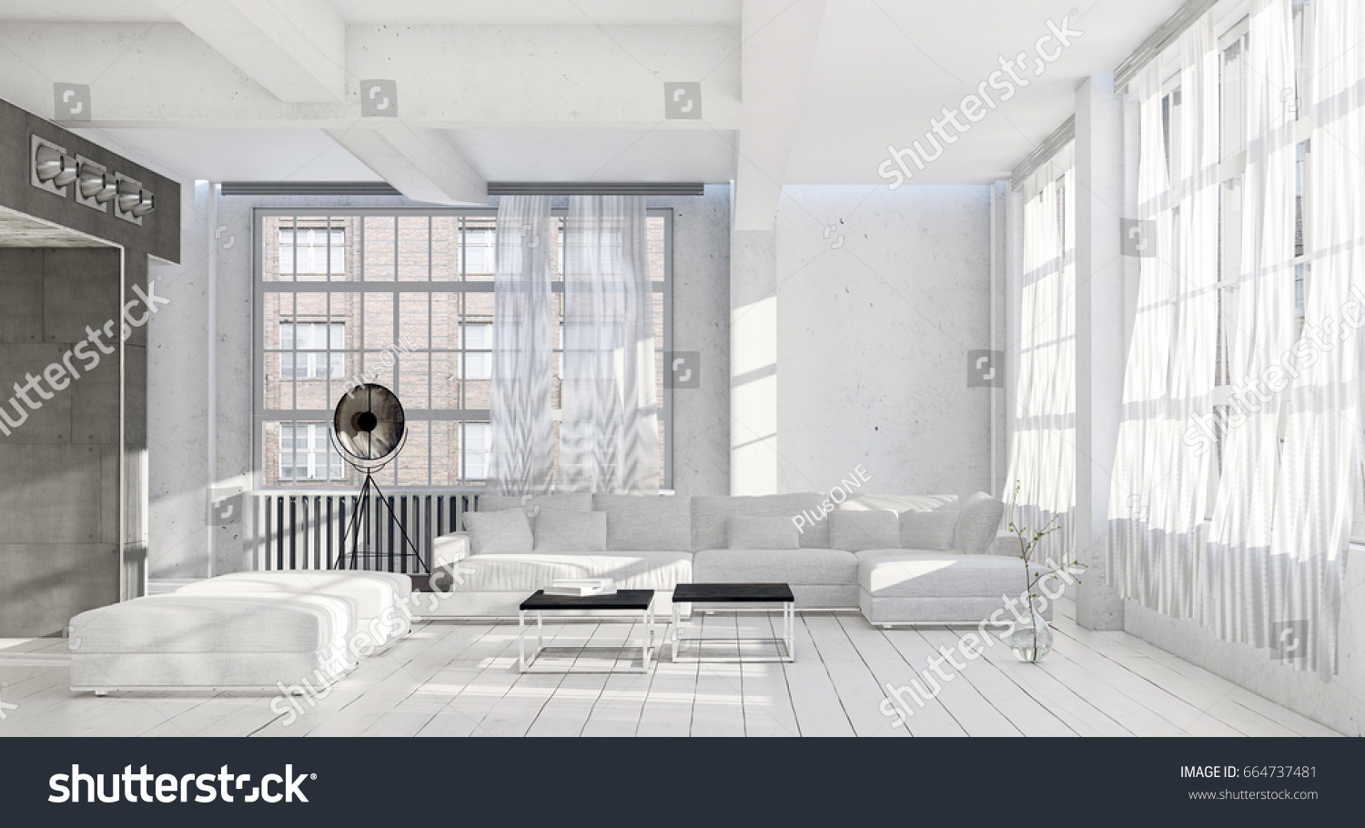 Bright Airy Cool Monochromatic White Living Stock Illustration ...
