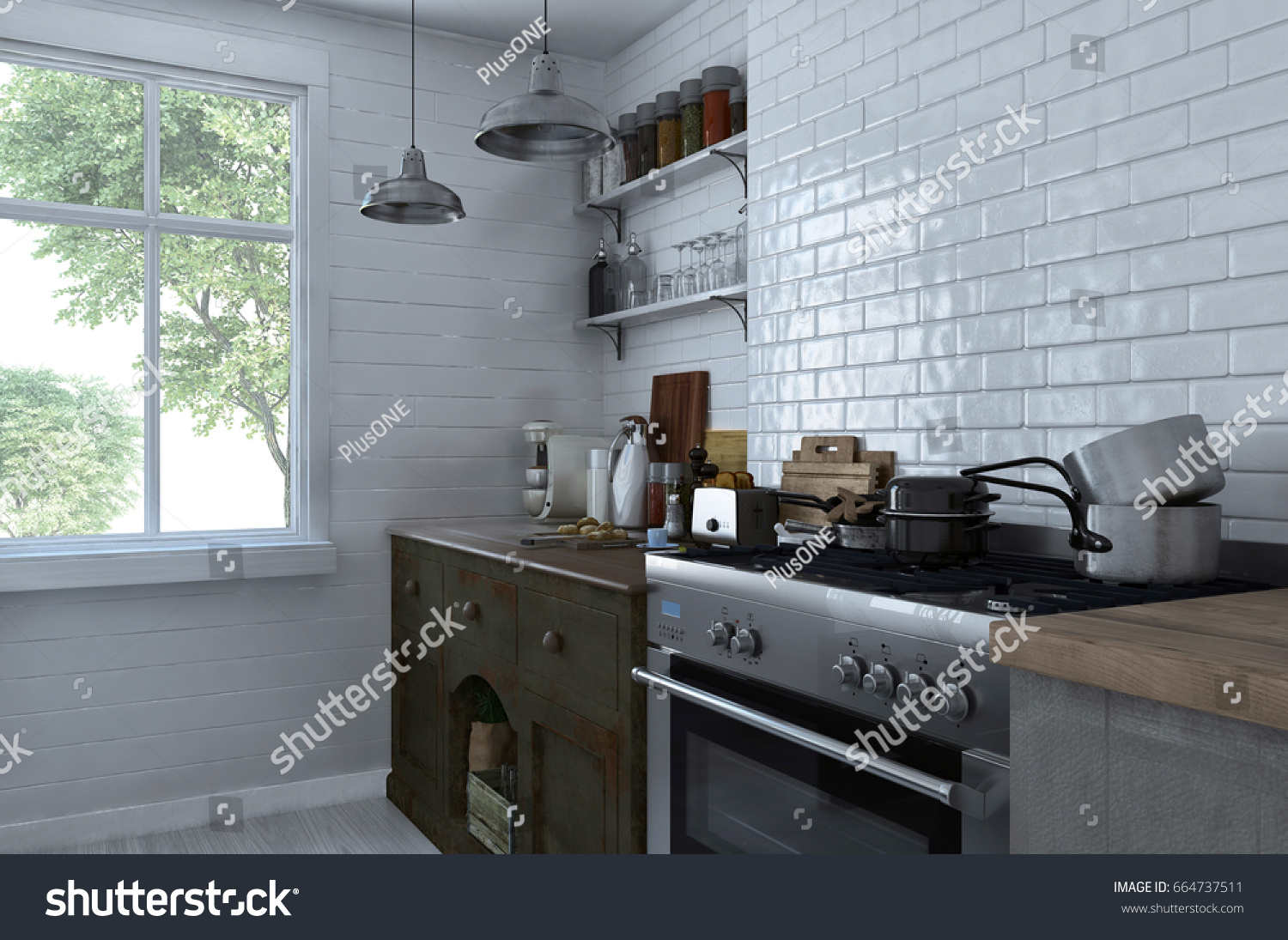 Small Compact Kitchen Interior Stove Cabinets Stock Illustration ...