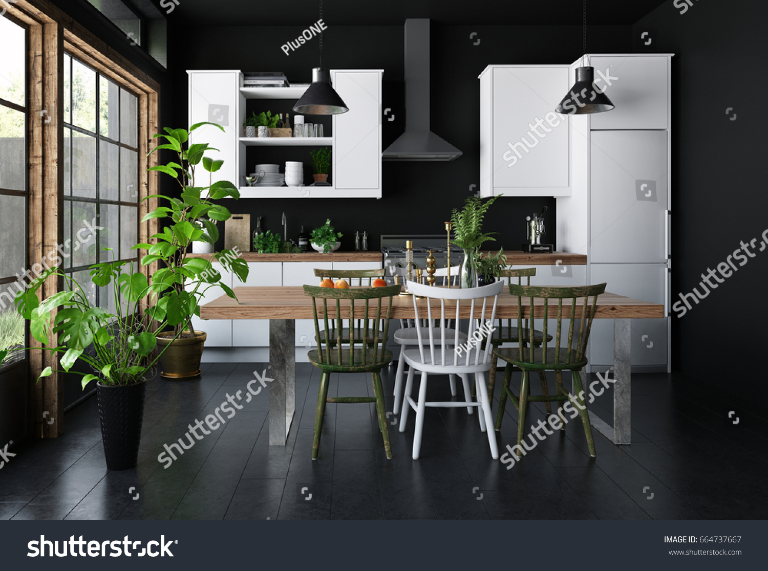 Spacious Kitchen Dark Interior Concept With Dining Table Black Walls And Wooden Floor