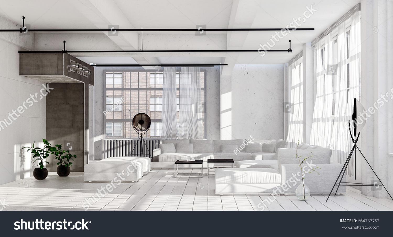 Spacious Living Room White Minimalist Interior Stock Illustration ...
