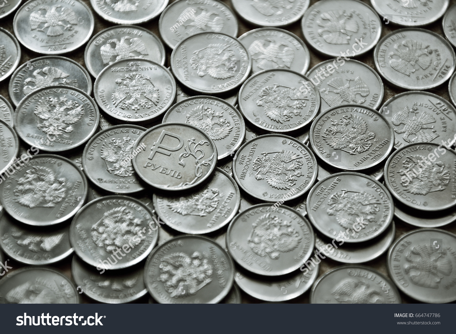 Coin With The Symbol Of Russian Ruble On The Coins Background Ez