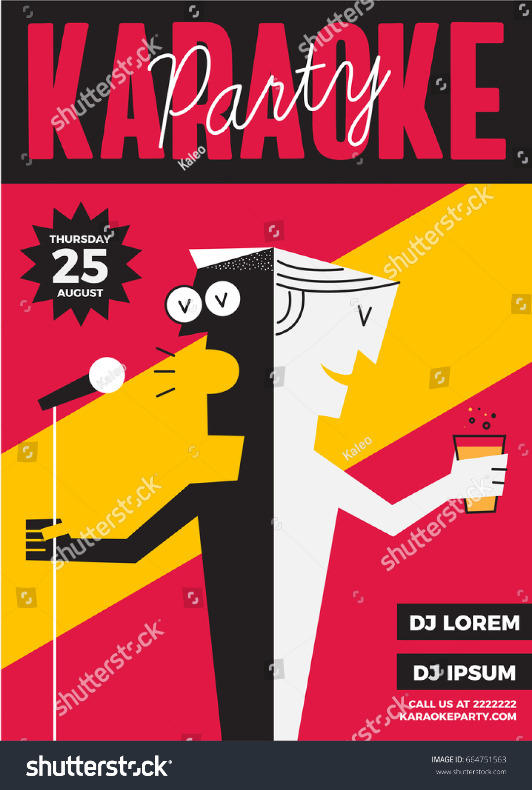Karaoke Party Invitation Poster Design Text Stock Vector 664751563 ...