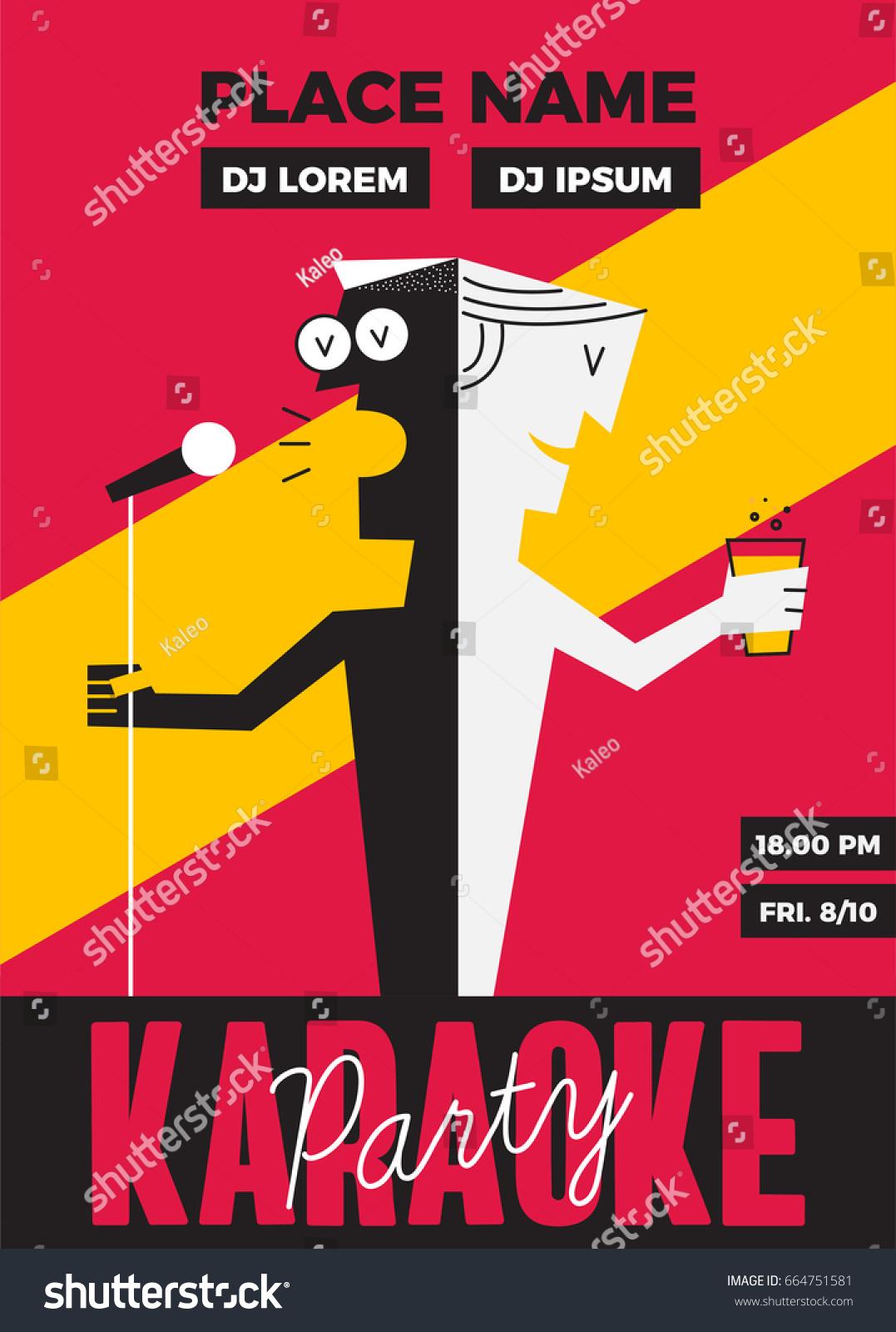 Karaoke Party Invitation Poster Design Text Stock Vector 664751581 ...