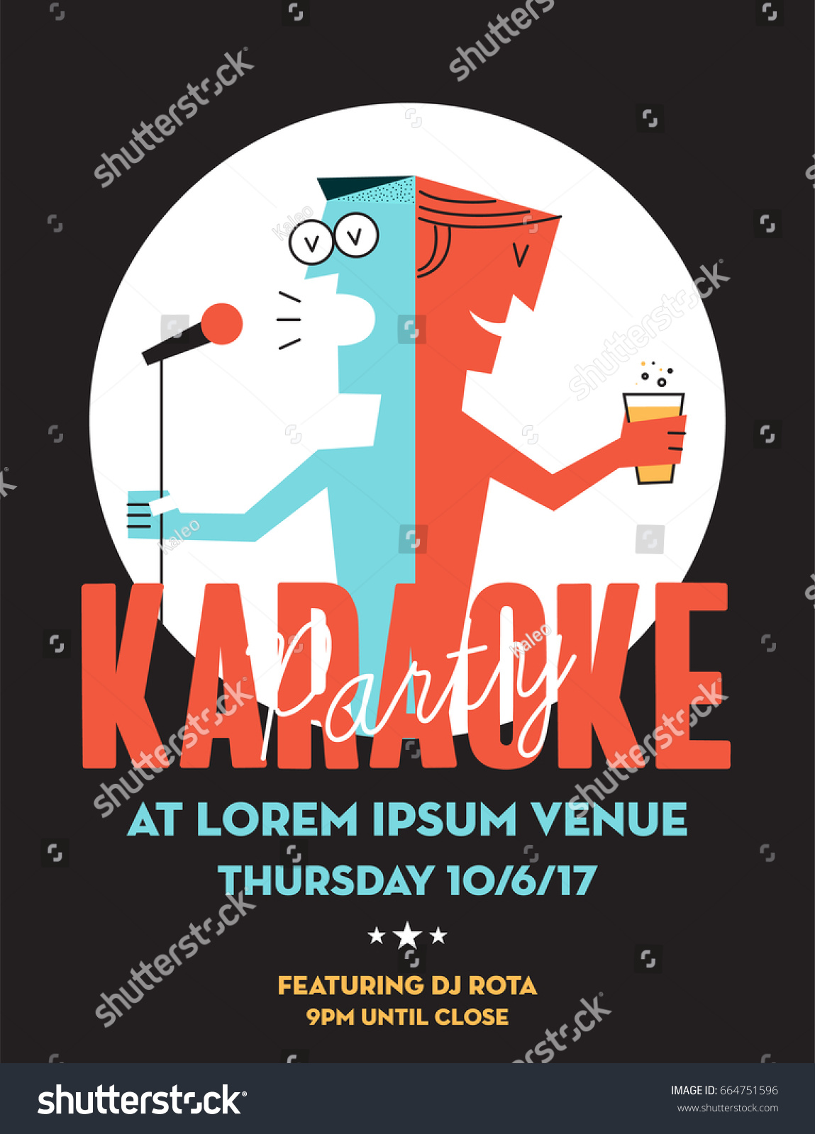 Karaoke Party Invitation Poster Design Text Stock Vector 664751596 ...