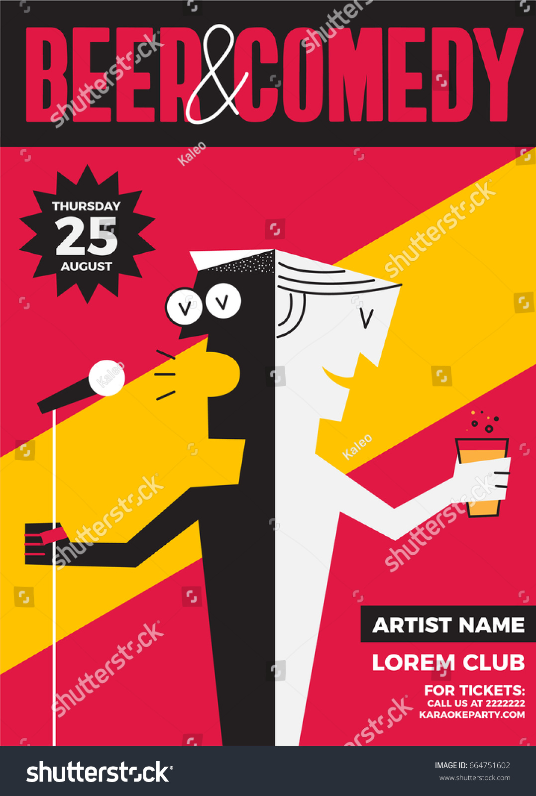 Beer Comedy Concept Stand Comedy Poster Stock Vector Royalty Free