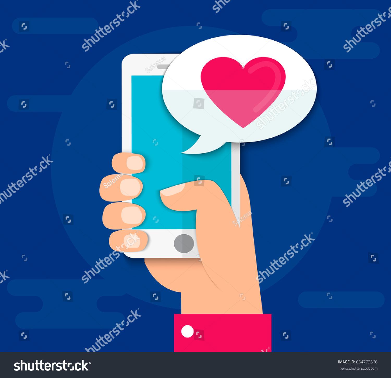 Hand Holding Smartphone Heart Emoji Message Stock Vector (Royalty