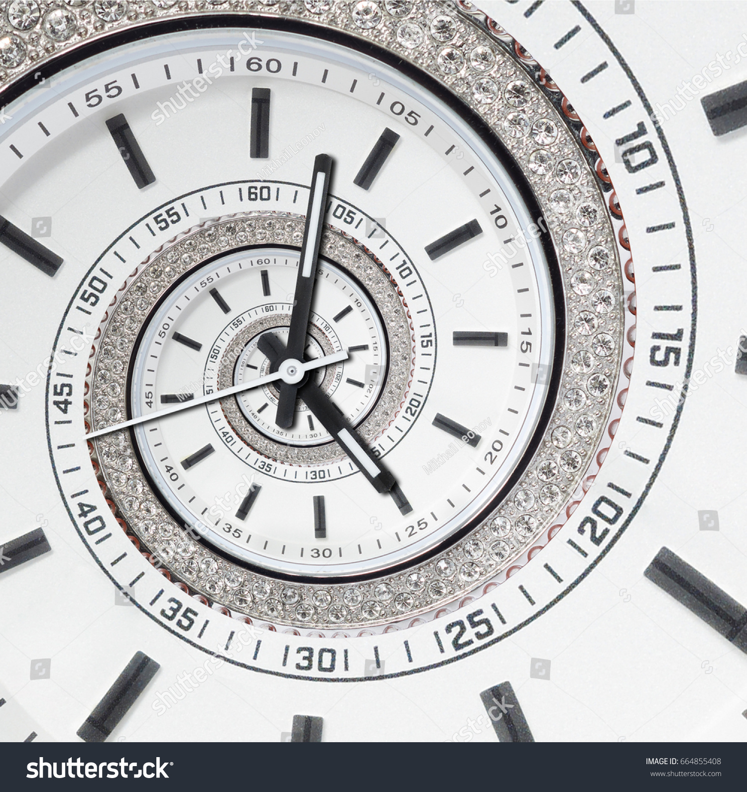 Futuristic modern strass diamond white clock stock photo 664855408 futuristic modern strass diamond white clock watch abstract fractal surreal spiral watch clock unusual abstract amipublicfo Image collections