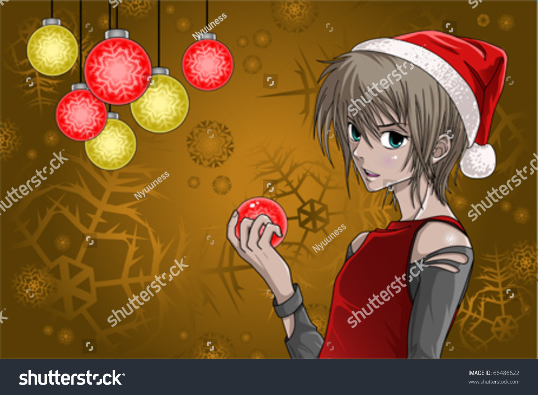 Santa Boy Nice Christmas Background Anime Stock Vector 66486622 ...