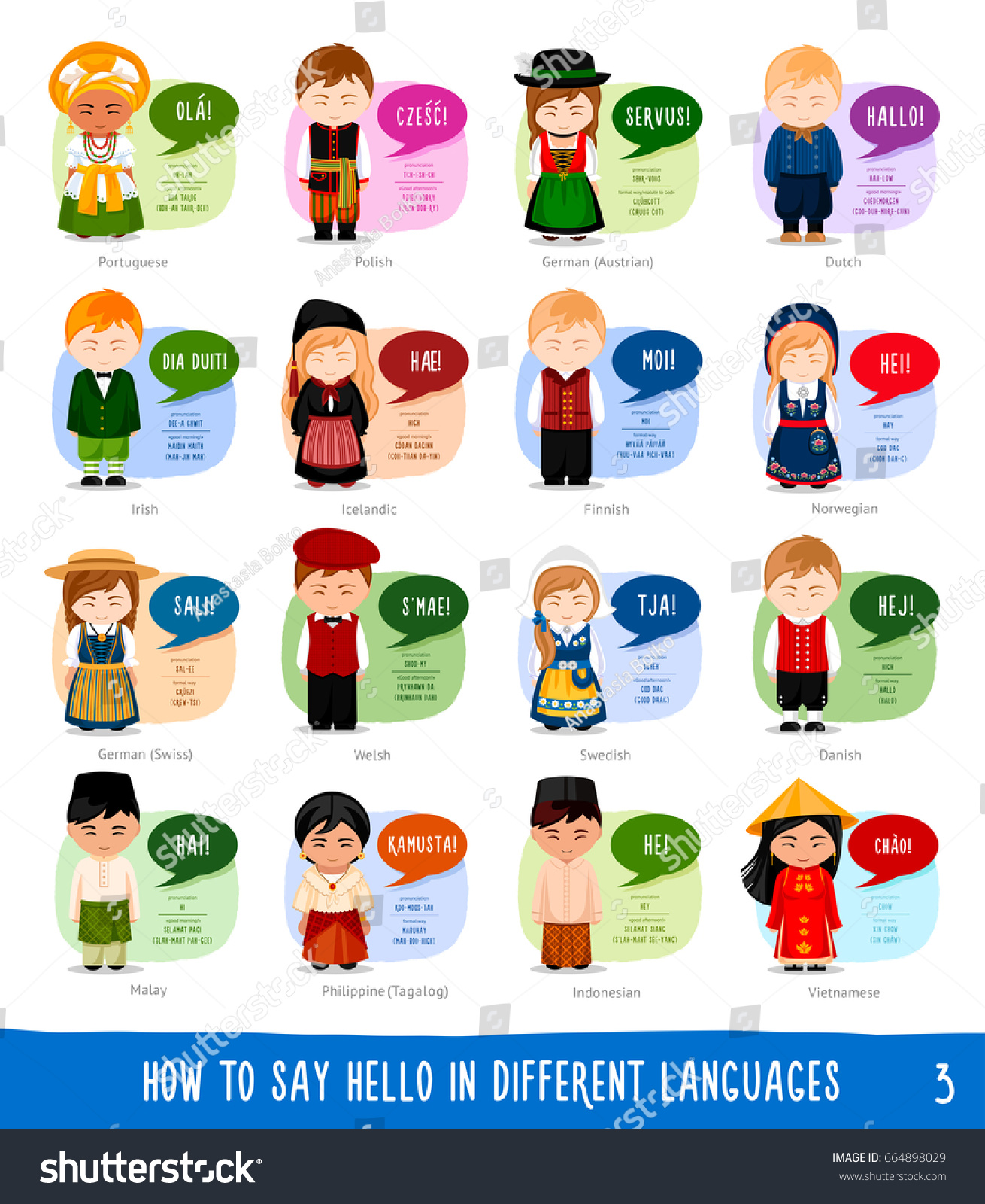Cartoon Characters Saying Hello Different Languages Stock Vector