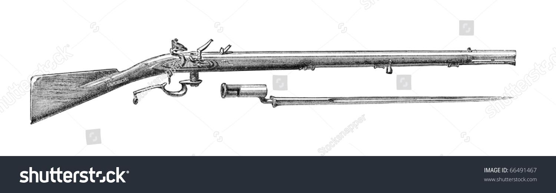 Old Engraving Depicting Ferguson Ordnance Rifle Stock
