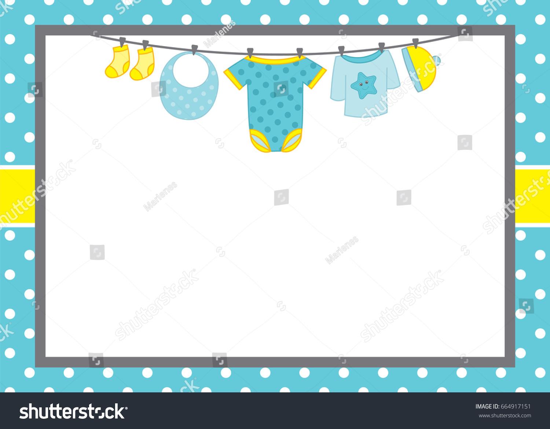 Vector Card Template Baby Boy Clothes Stock Vector Royalty Free