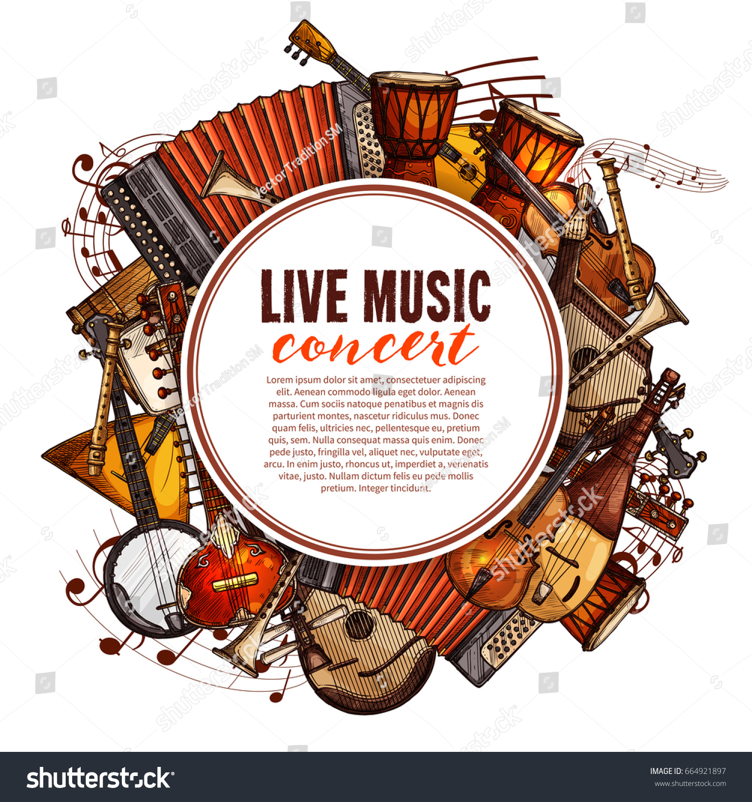Live Music Concert Poster Of Musical Instruments Vector Design Folk Accordion Ethnic Jembe
