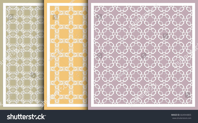 Decorative Panels Set Laser Cutting Geometric Stock Vector 664944805 ...