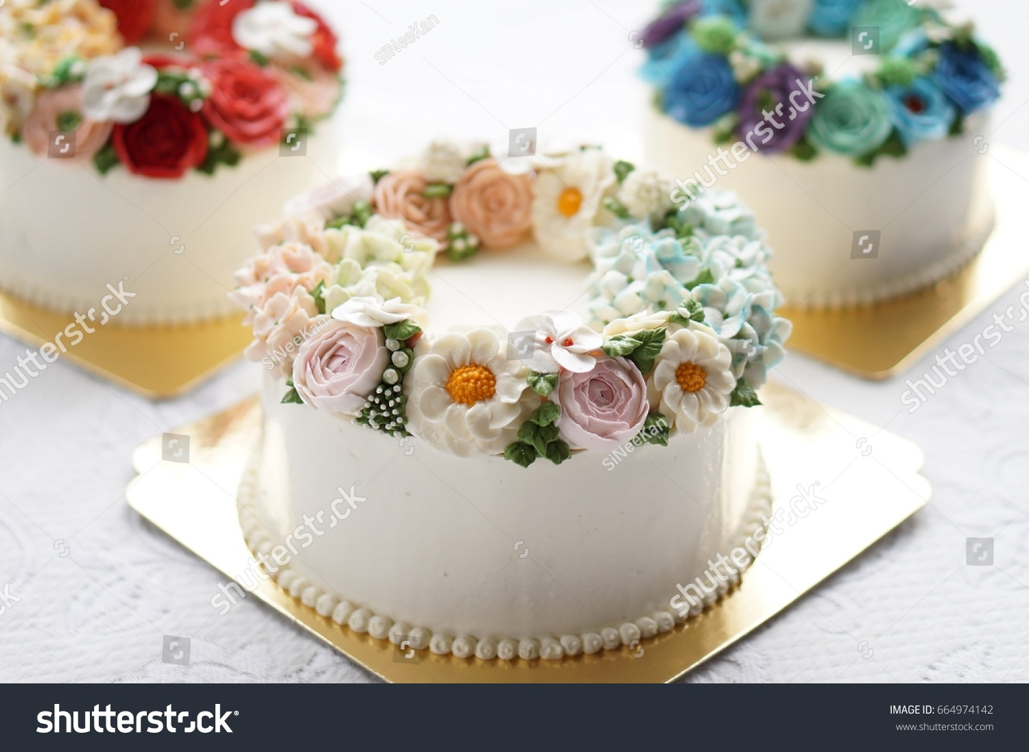 Birthday Cake Flowers On Lace White Stock Photo Edit Now 664974142