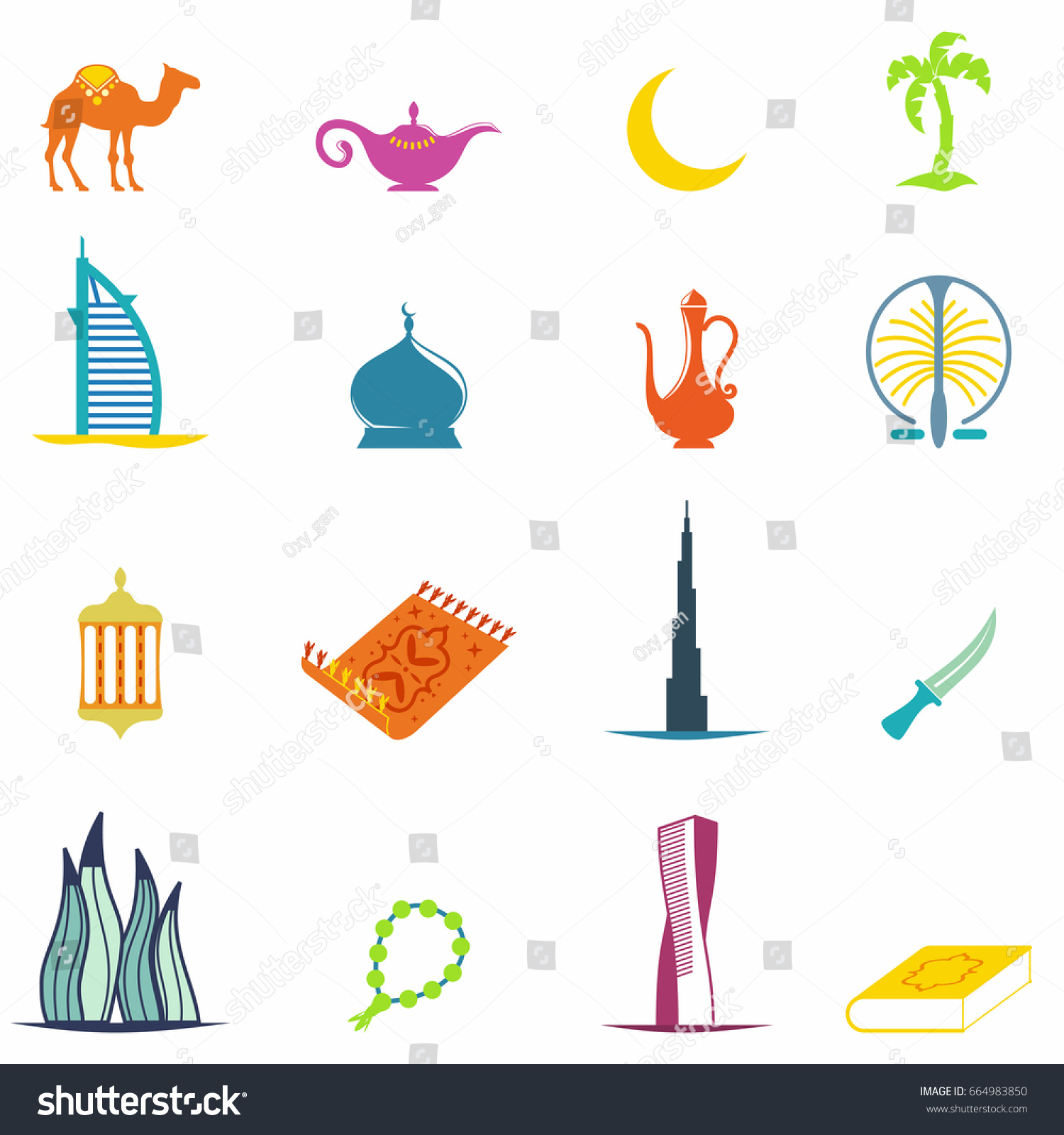 United Arab Emirates Colorful Icons Set Stock Vector Royalty Free