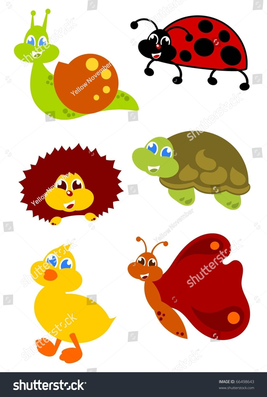 Little Garden Animals Icon Set Stock Vector 66498643 Shutterstock
