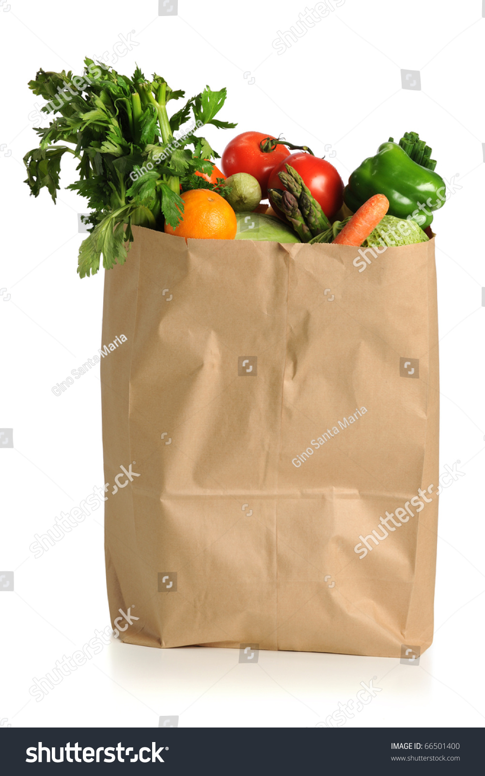 Assorted Fruits Vegetables Brown Grocery Bag Stock Photo 66501400 ...