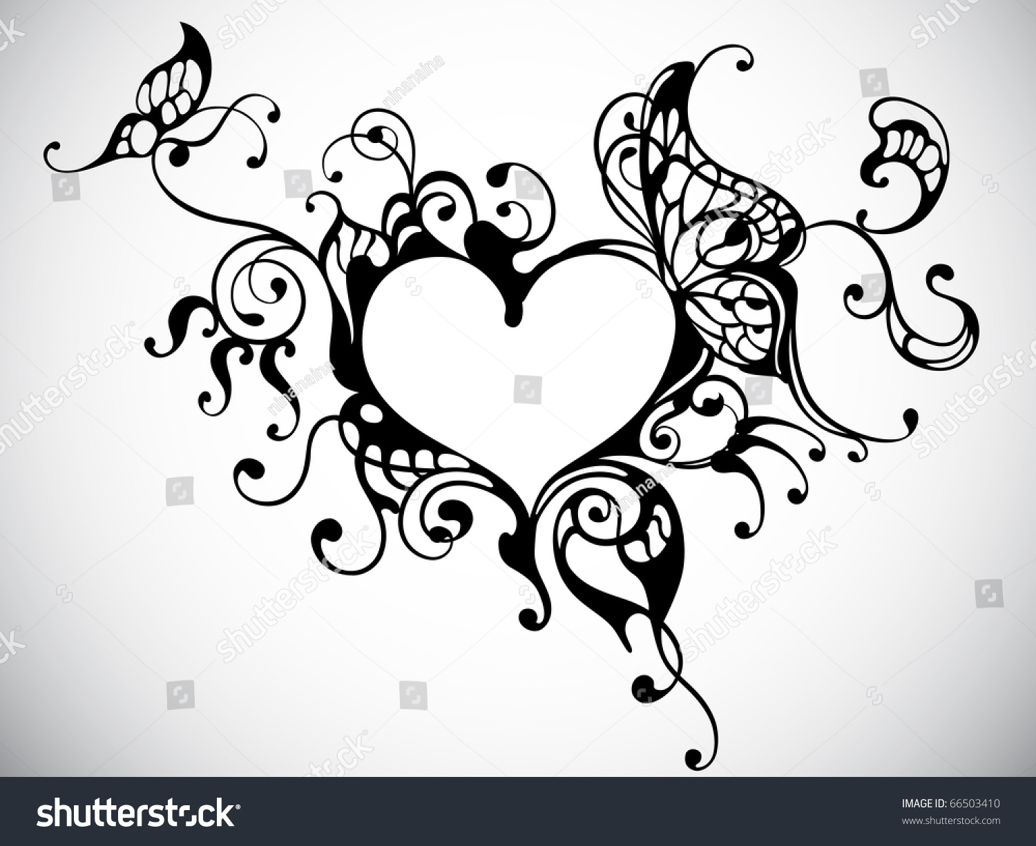 vector heart frame with butterfly 66503410 shutterstock. Black Bedroom Furniture Sets. Home Design Ideas
