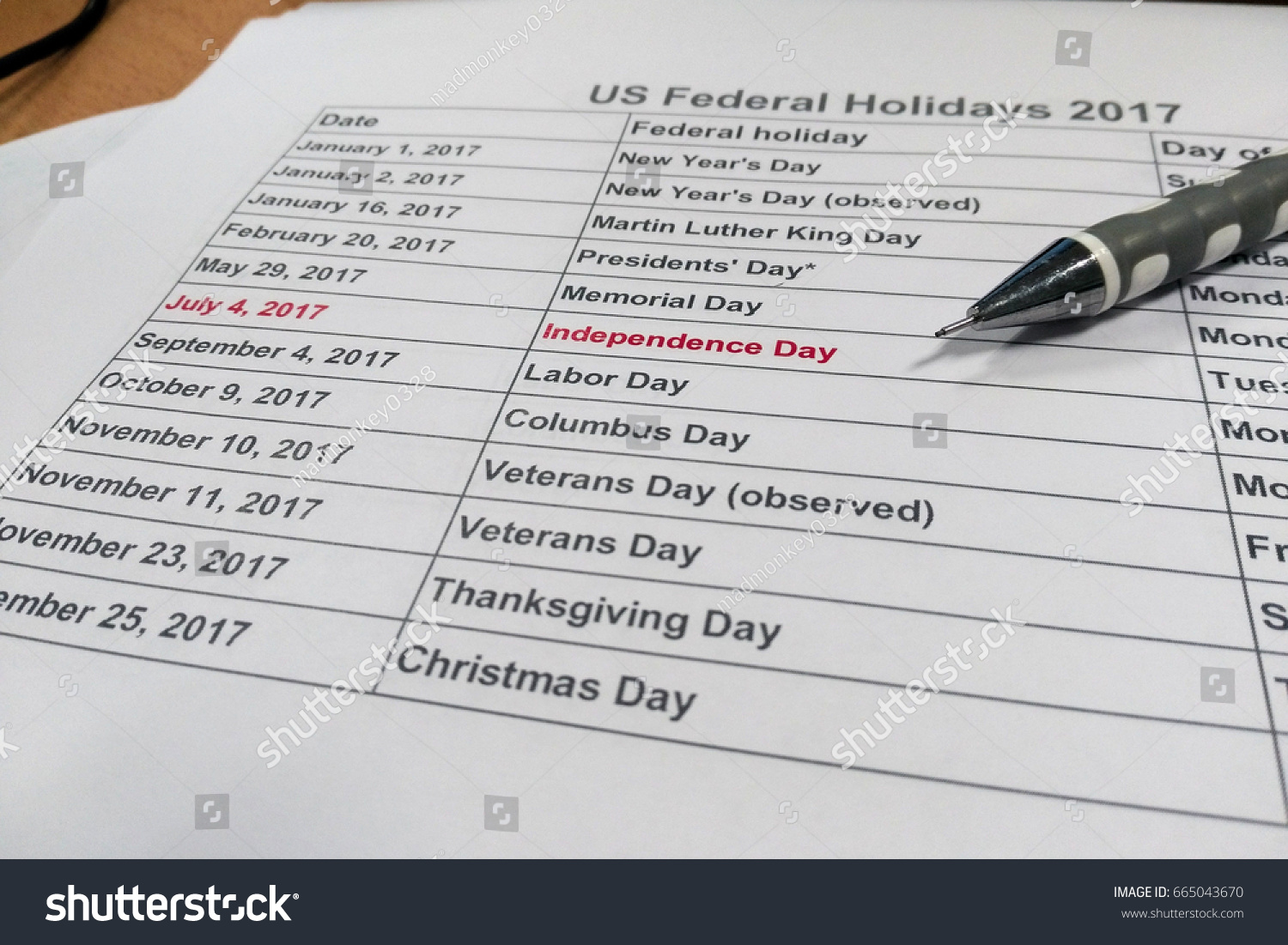 US Federal Holiday 2017 Independence Day Stock Photo (Royalty Free ...