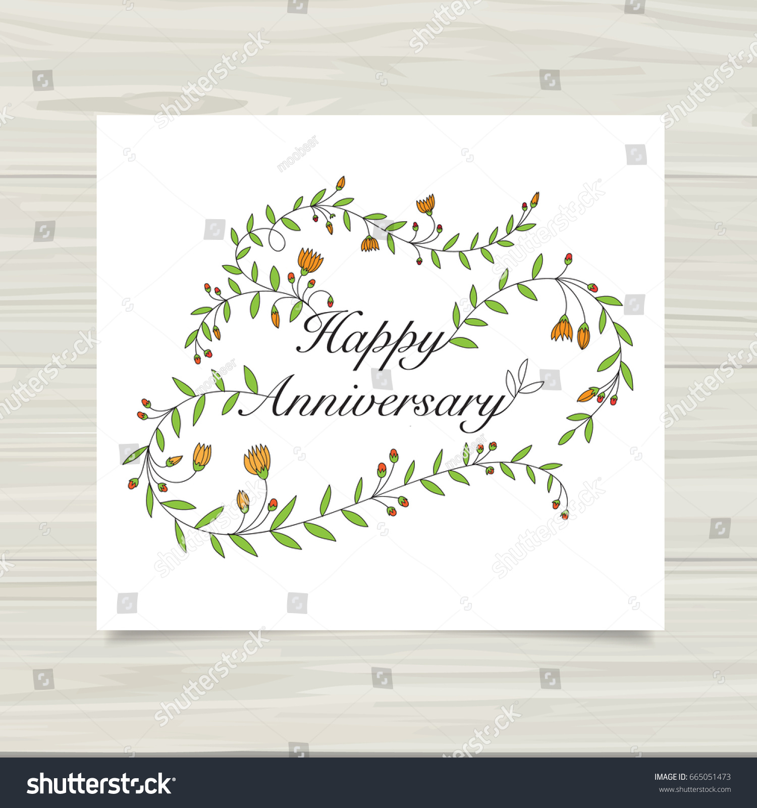Happy Anniversary Card Template Stock Vector Royalty Free