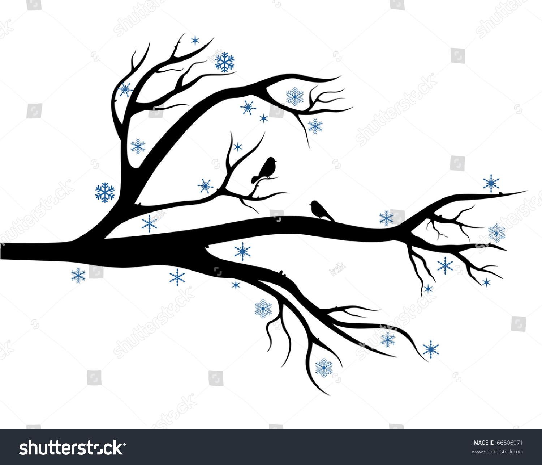 Branch Tree Birds On It Winter Stock Vector 66506971