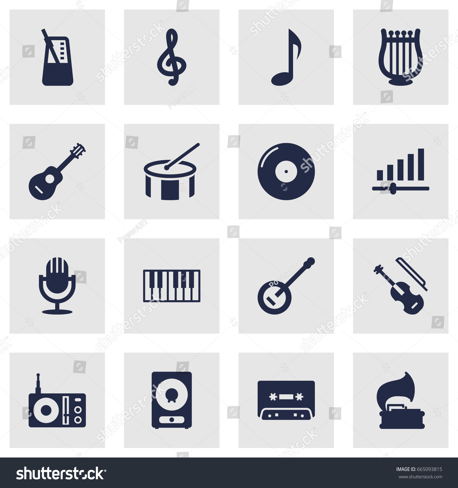 Set 16 song icons setcollection turntable stock vector 665093815 set of 16 song icons setllection of turntable fiddle tone symbol and buycottarizona