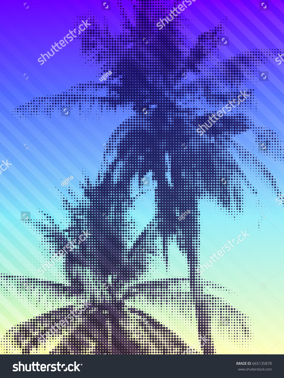 tropical paradise background colorful illustration palm stock