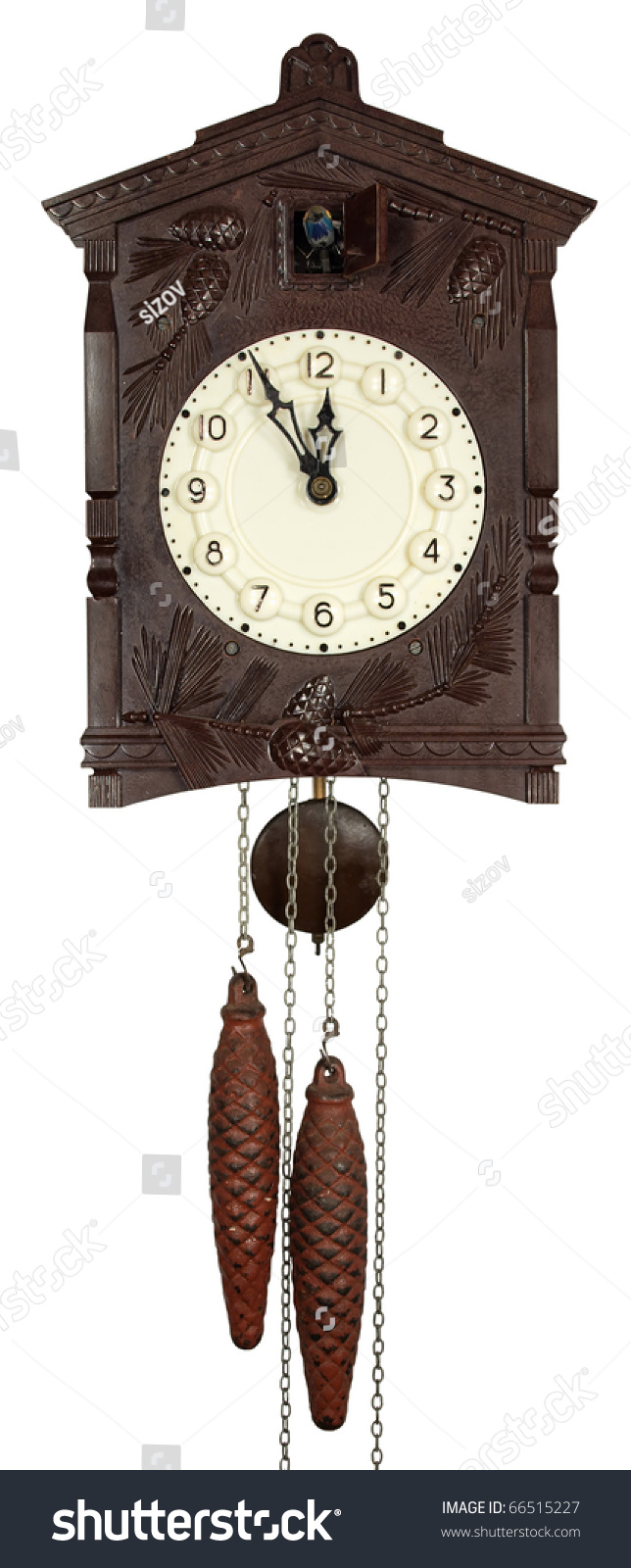 Wall clock with a cuckoo a pendulum and weights stock photo 66515227 shutterstock - Cuckoo pendulum wall clock ...