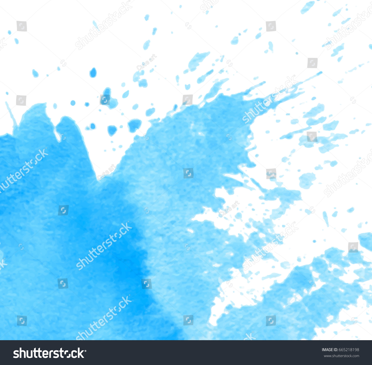 Blue Watercolor Wet Brush Paint Splatter Stock Vector