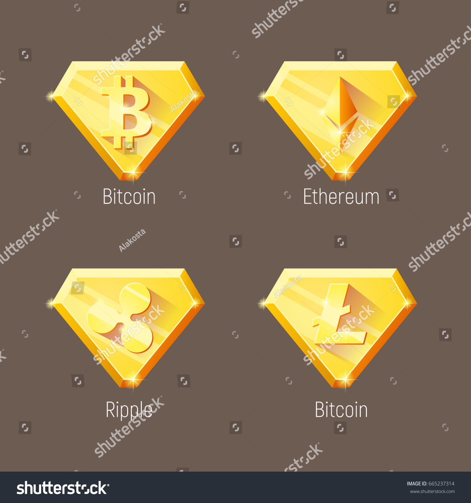 Cripto Currency Logo Diamonds Litecoin Ripple Ethereum Bitcoin Vector Set For