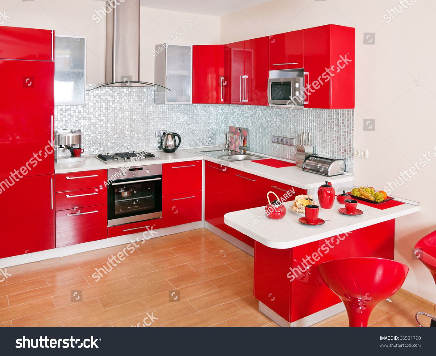 Modern Kitchen Interiors Modern Kitchen Interior Red Decoration Stock Photo 66531790