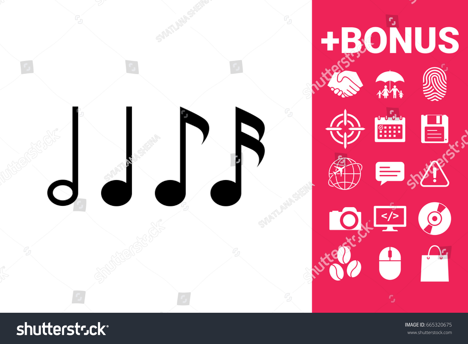 Symbol Music Notes Sixteenth Note Eighth Stock Illustration