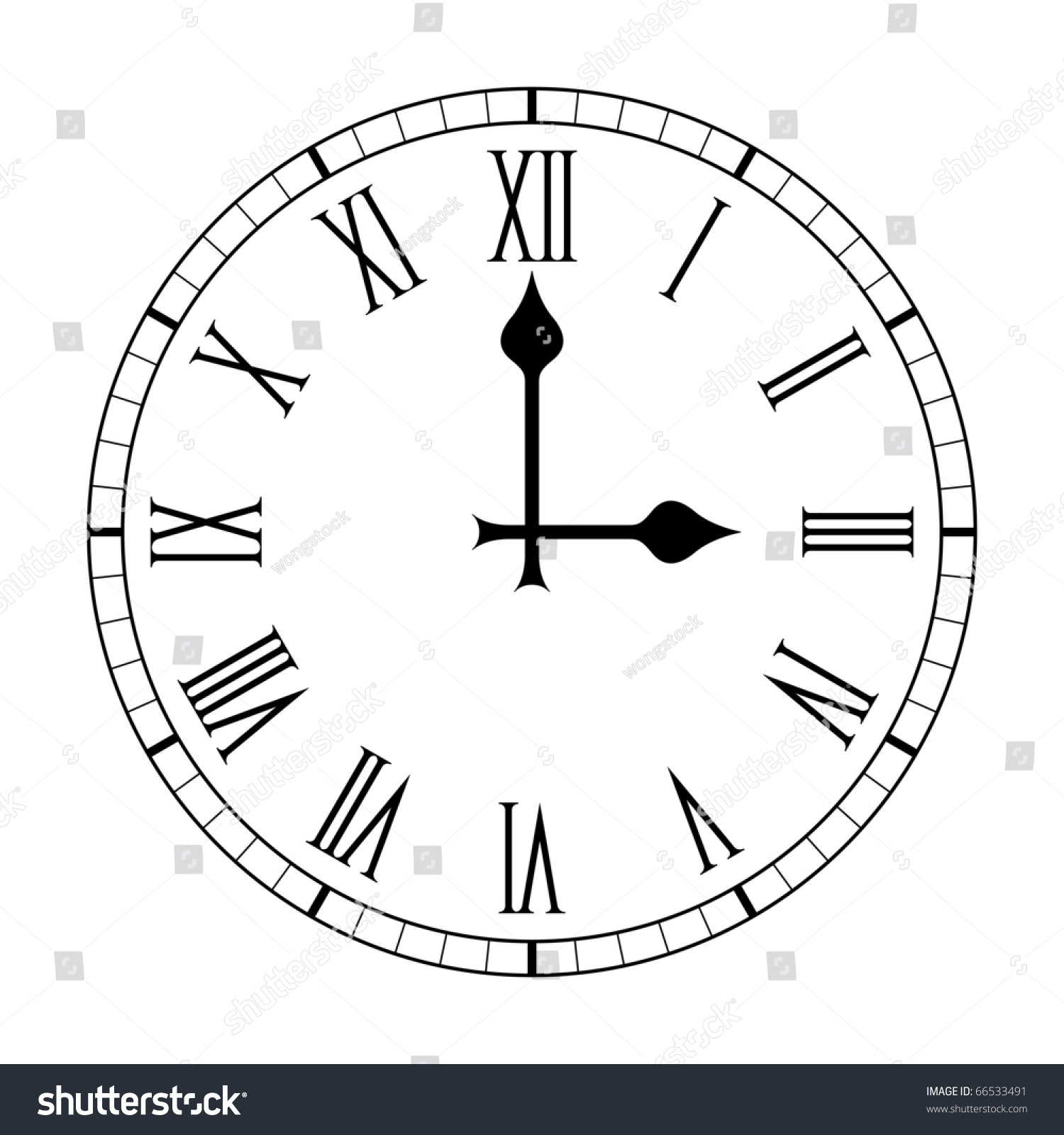 Plain Roman Numeral Clock Face Stock Vector 66533491
