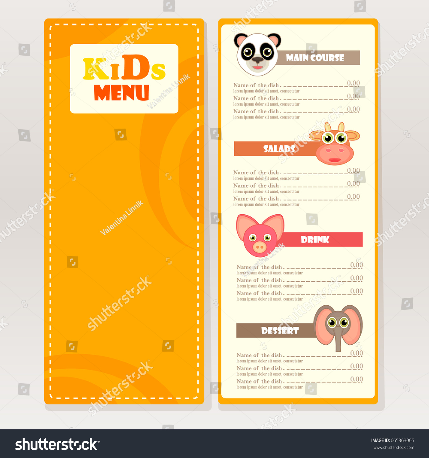 Beautiful Design Sample Kids Menu For Cafes, Restaurants. Bright Graphic Objects,  Animal Silhouette,