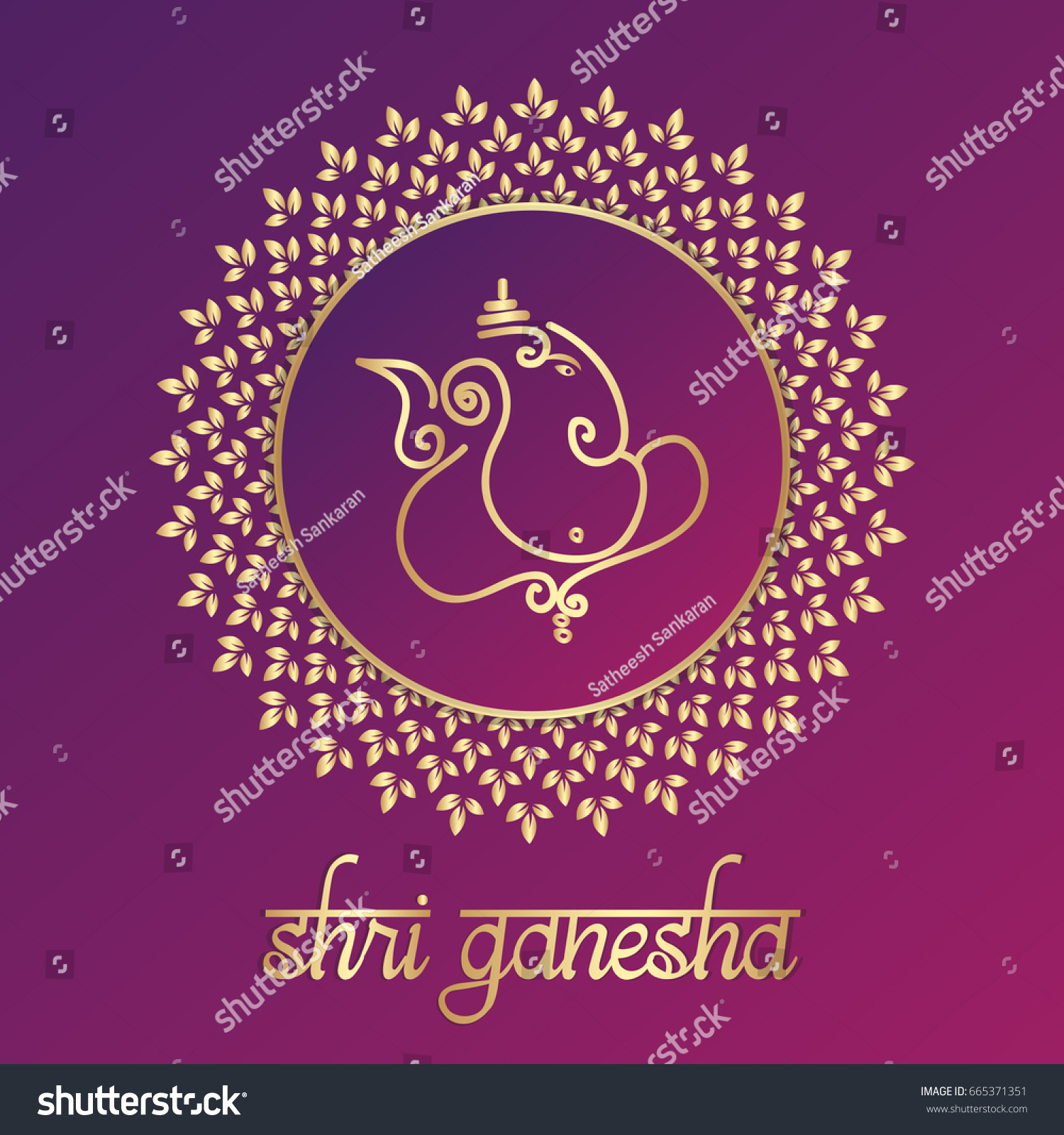 Indian God Ganesha Vector Illustration Design Stock Vector 665371351 - Shutterstock