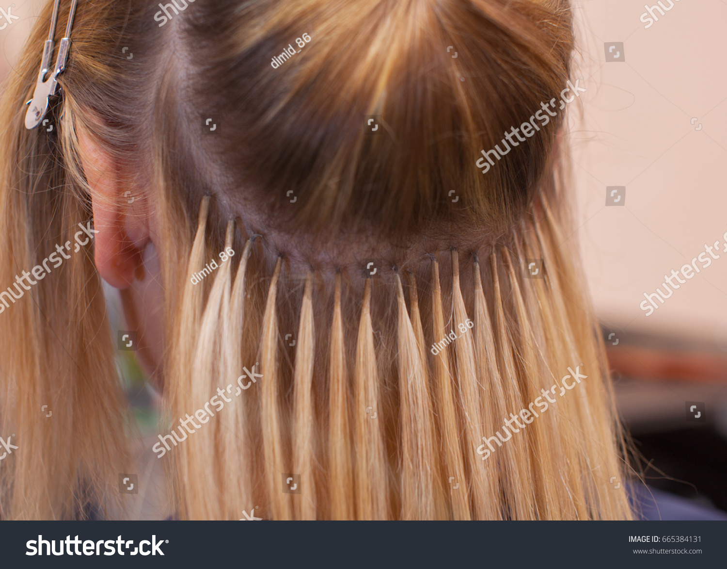 Hairdresser Does Hair Extensions Young Girl Stock Photo Edit Now