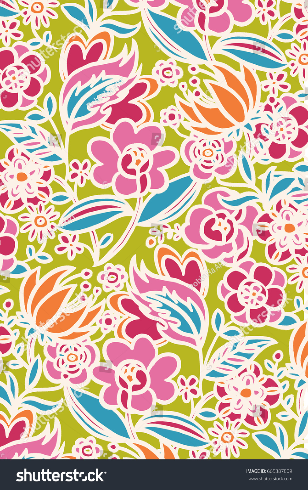 Flowers Colorful Patterns Hand Drawn Flat Stock Illustration ...