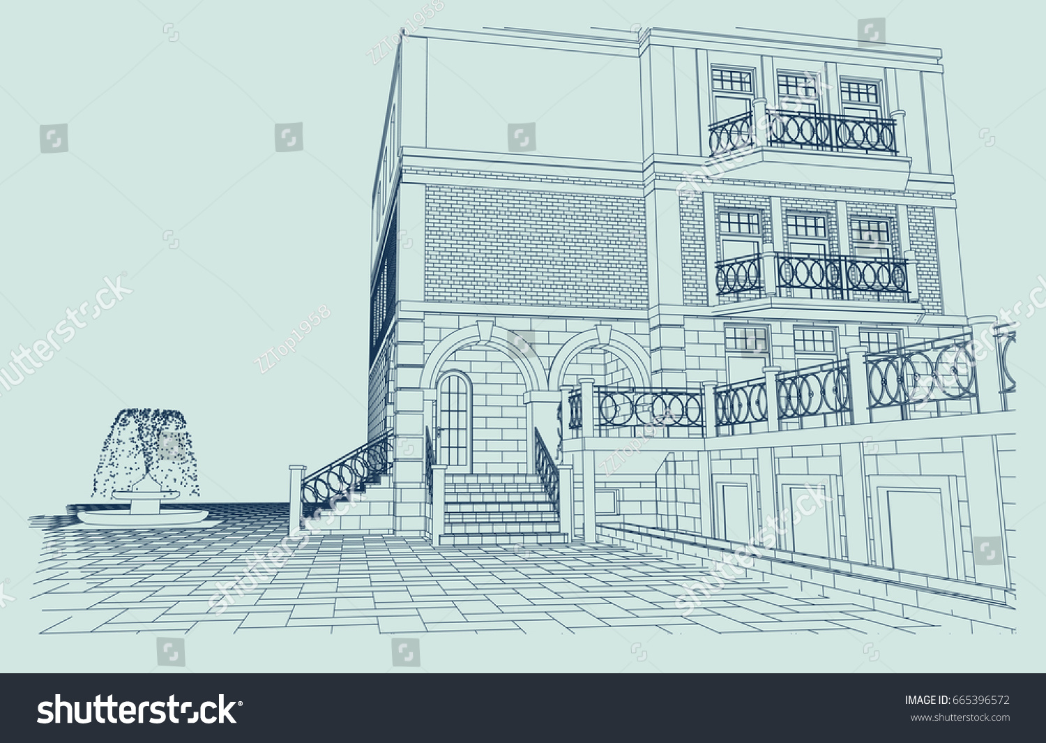 Authors project country house fountain blueprint stock photo photo the authors project of a country house with a fountain blueprint 3d perspective malvernweather Image collections