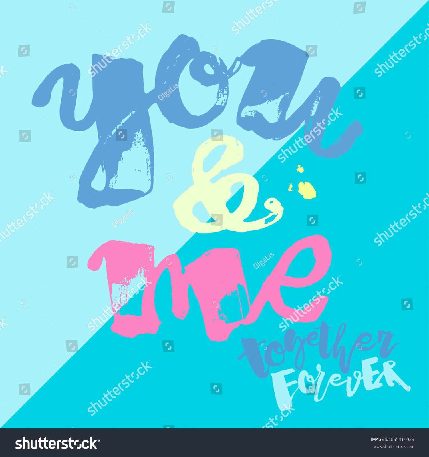 You Me Together Forever Lettering Watercolor Stock Illustration