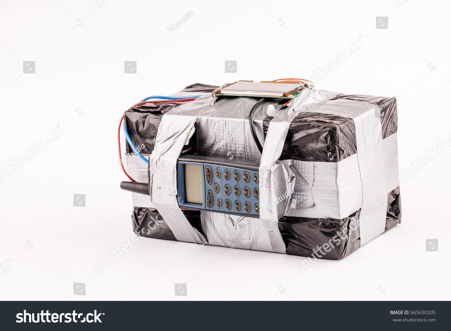 Bomb Screen Cell Phone Colored Wires Stock Photo (Royalty Free ...